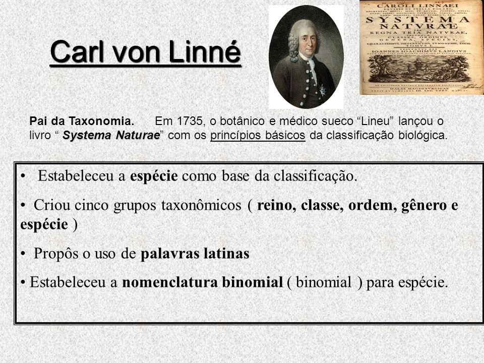 Carl von Linné Estabeleceu a espécie como base da classificação.