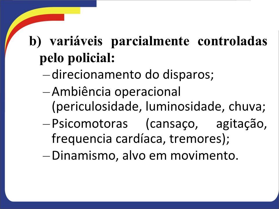 b) variáveis parcialmente controladas pelo policial: