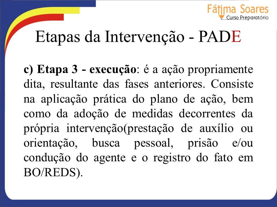 Etapas da Intervenção - PADE