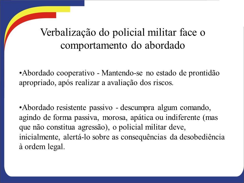 Verbalização do policial militar face o comportamento do abordado
