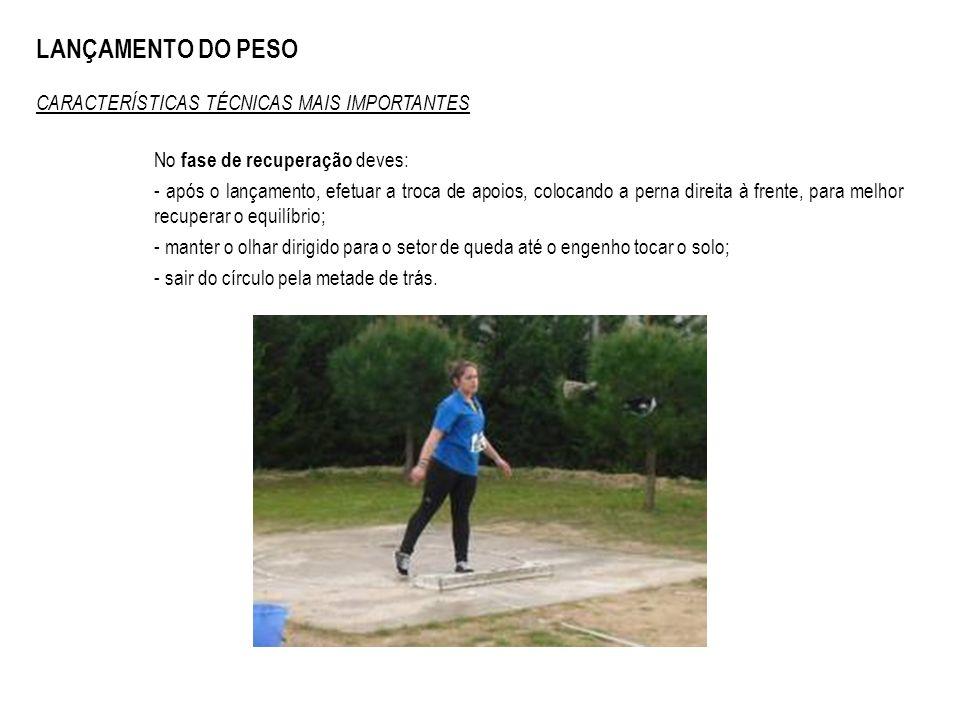 LANÇAMENTO DO PESO CARACTERÍSTICAS TÉCNICAS MAIS IMPORTANTES