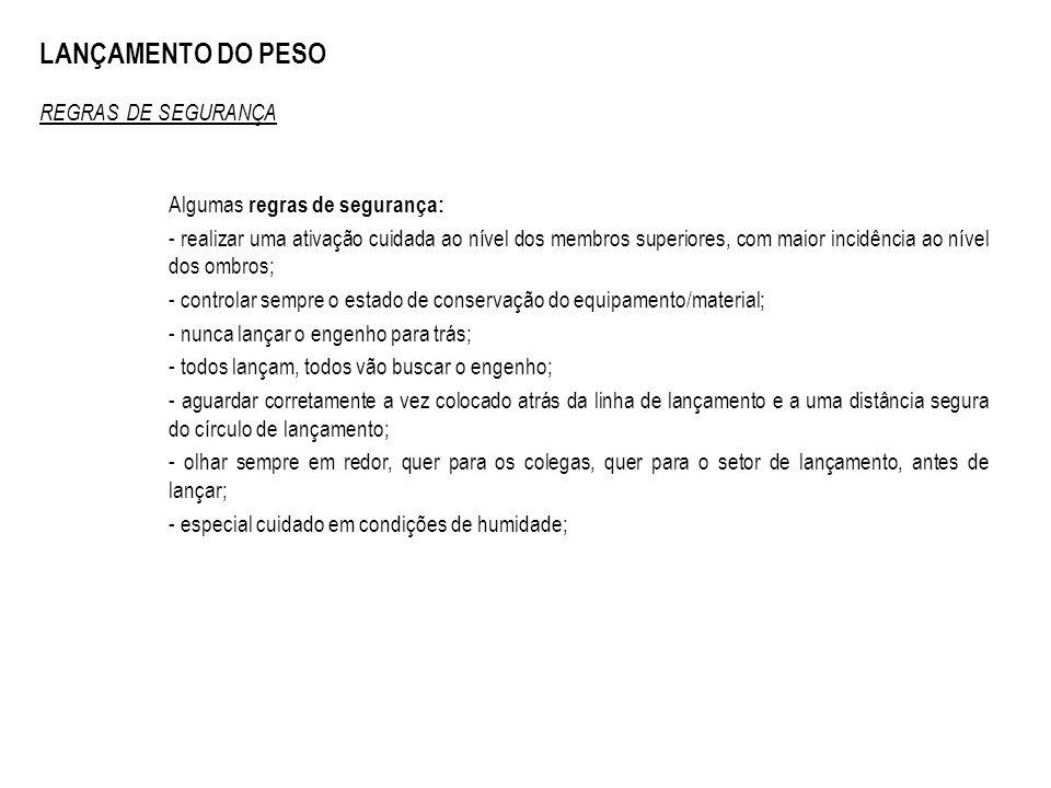 LANÇAMENTO DO PESO REGRAS DE SEGURANÇA