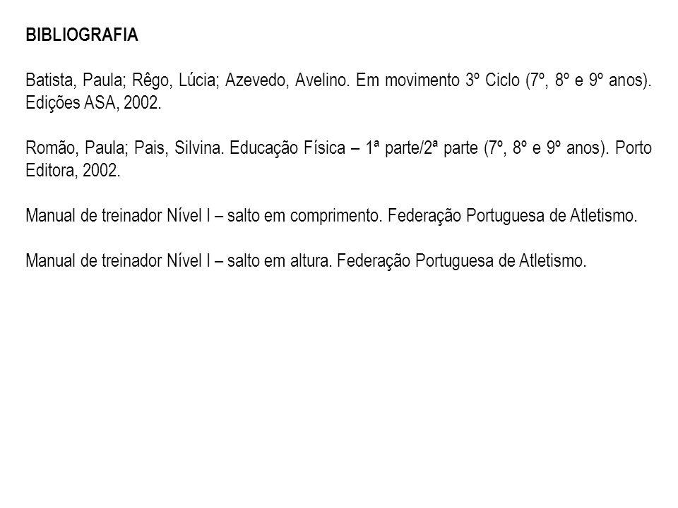 BIBLIOGRAFIA Batista, Paula; Rêgo, Lúcia; Azevedo, Avelino. Em movimento 3º Ciclo (7º, 8º e 9º anos). Edições ASA, 2002.