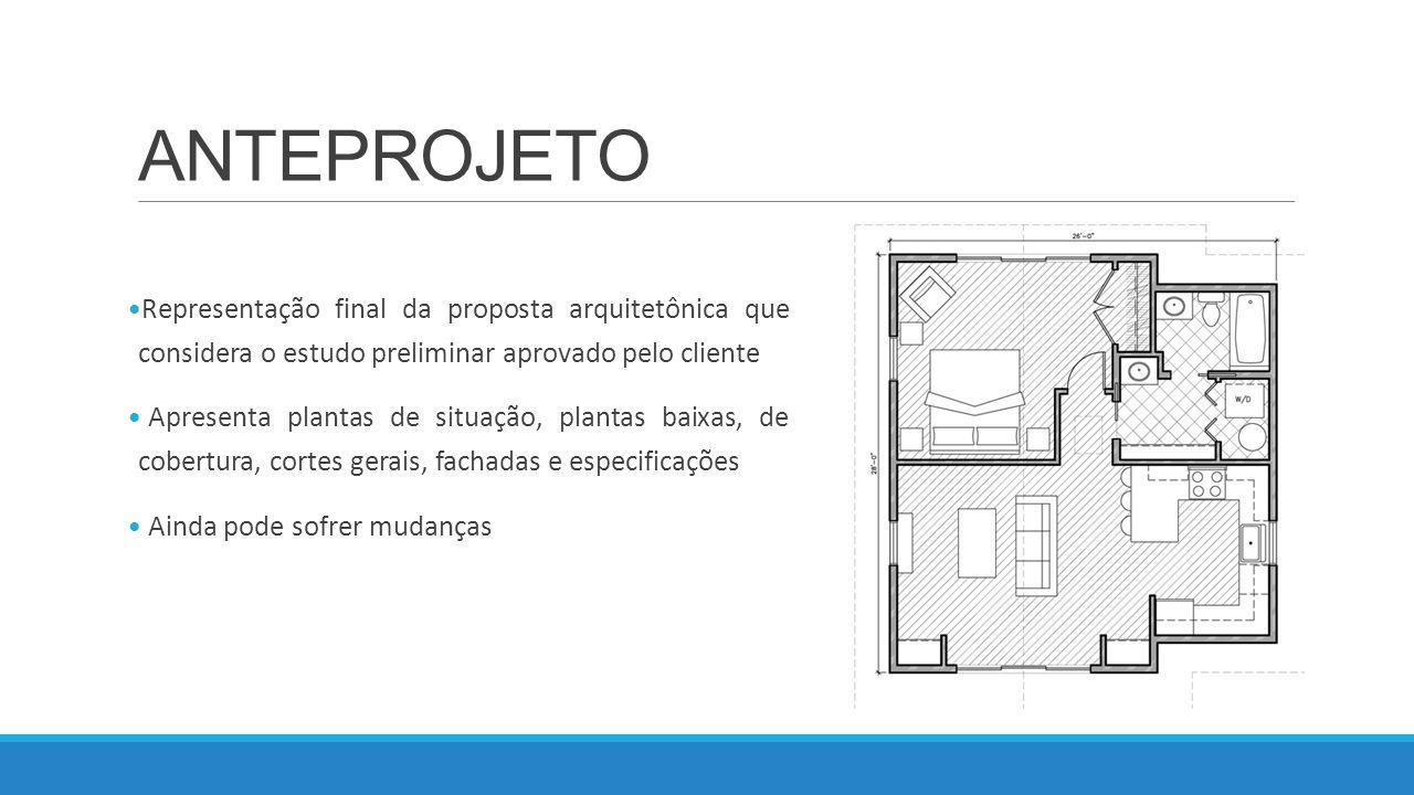 ANTEPROJETO Representação final da proposta arquitetônica que considera o estudo preliminar aprovado pelo cliente.
