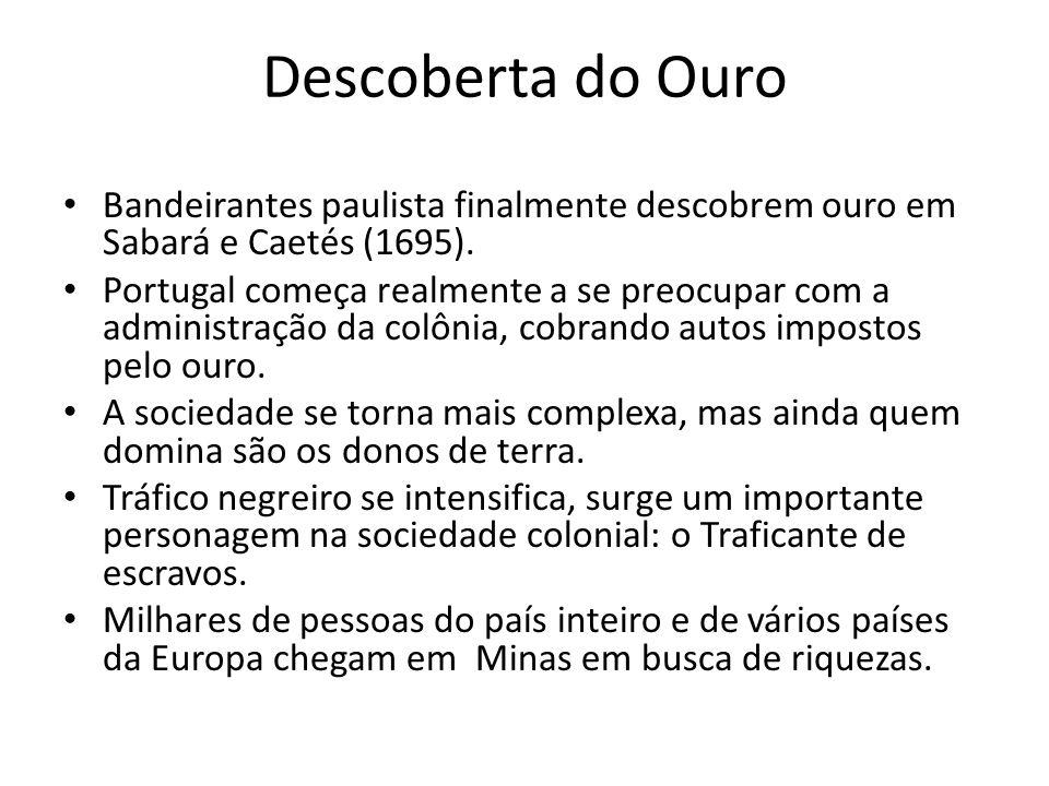 Descoberta do Ouro Bandeirantes paulista finalmente descobrem ouro em Sabará e Caetés (1695).