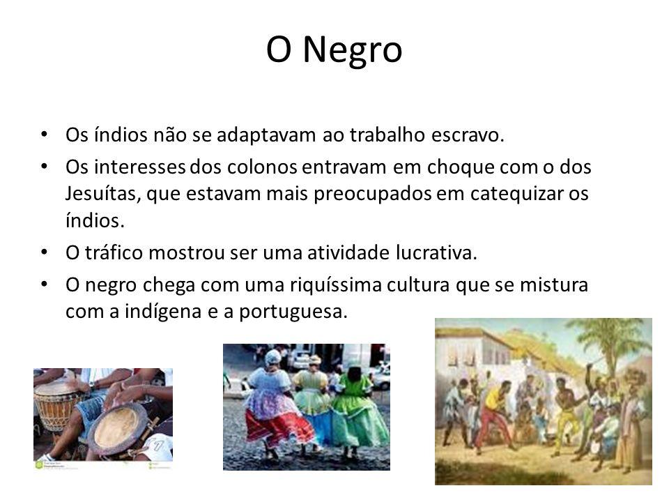 O Negro Os índios não se adaptavam ao trabalho escravo.