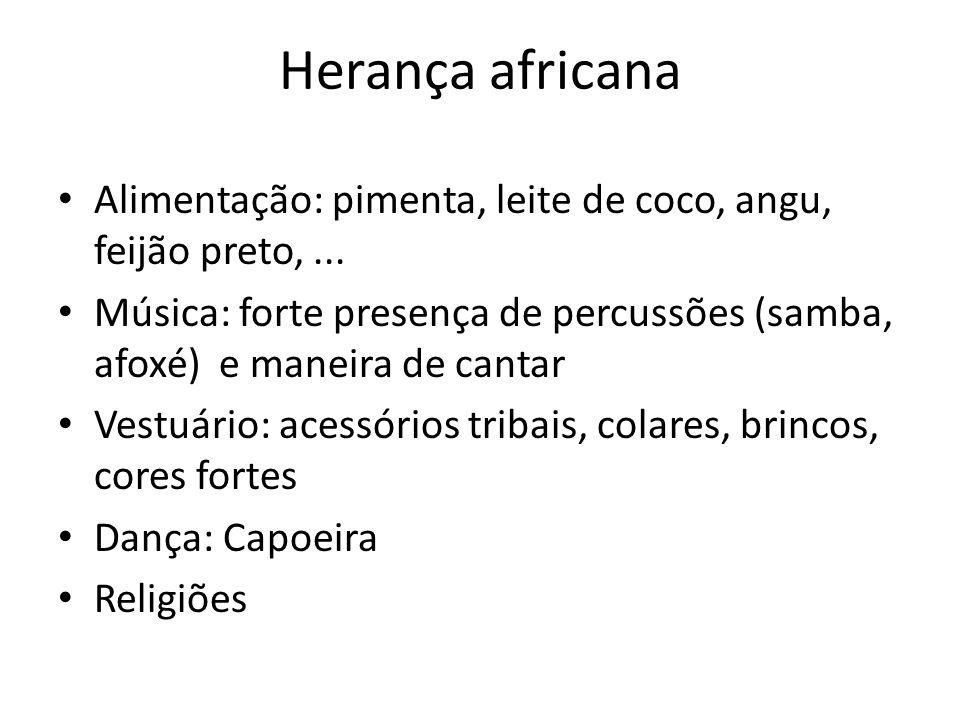 Herança africana Alimentação: pimenta, leite de coco, angu, feijão preto, ...