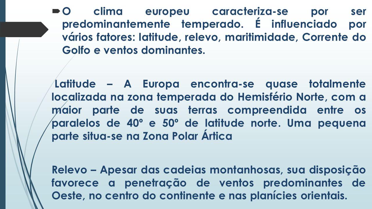 O clima europeu caracteriza-se por ser predominantemente temperado