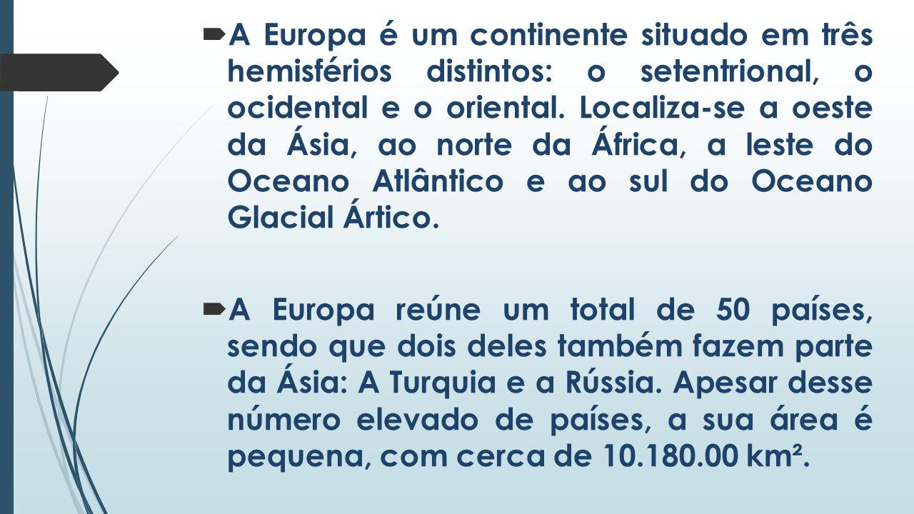 A Europa é um continente situado em três hemisférios distintos: o setentrional, o ocidental e o oriental. Localiza-se a oeste da Ásia, ao norte da África, a leste do Oceano Atlântico e ao sul do Oceano Glacial Ártico.
