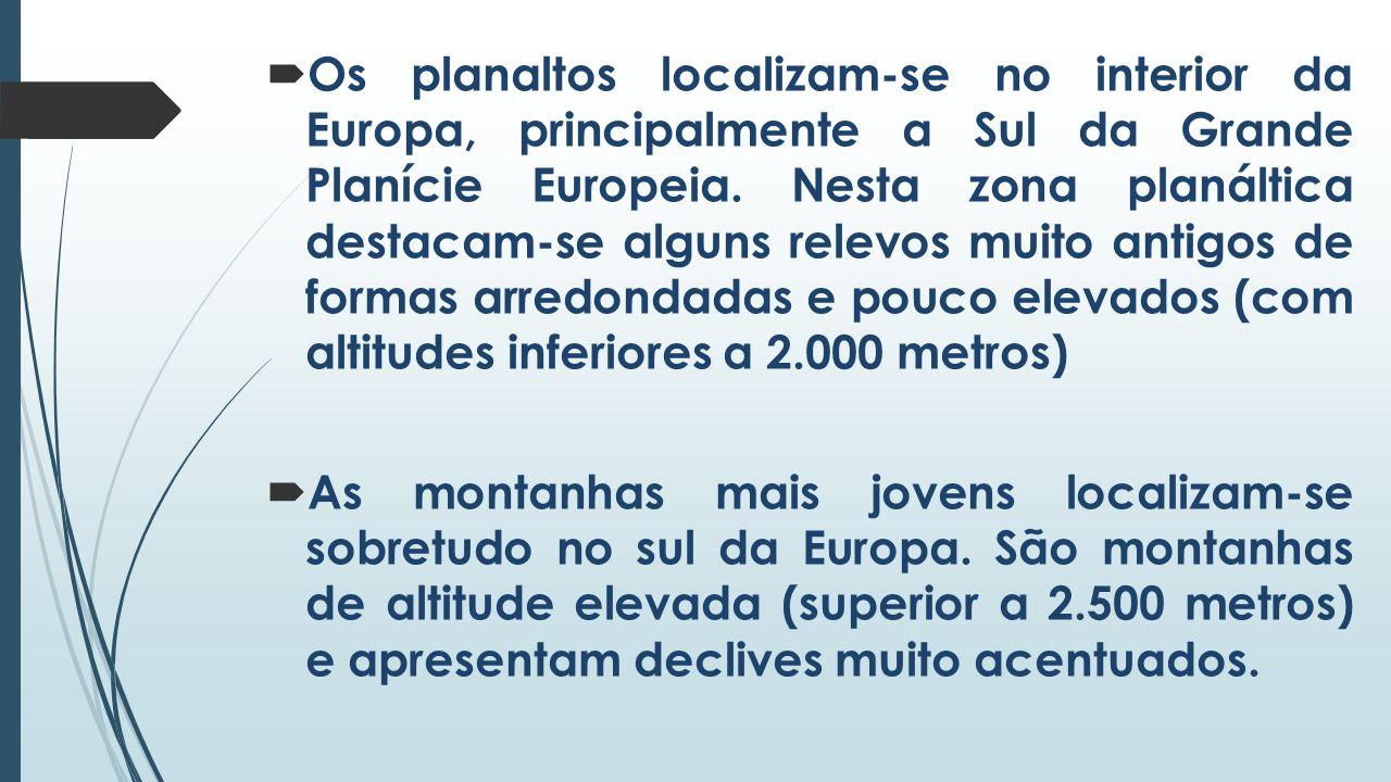 Os planaltos localizam-se no interior da Europa, principalmente a Sul da Grande Planície Europeia. Nesta zona planáltica destacam-se alguns relevos muito antigos de formas arredondadas e pouco elevados (com altitudes inferiores a 2.000 metros)