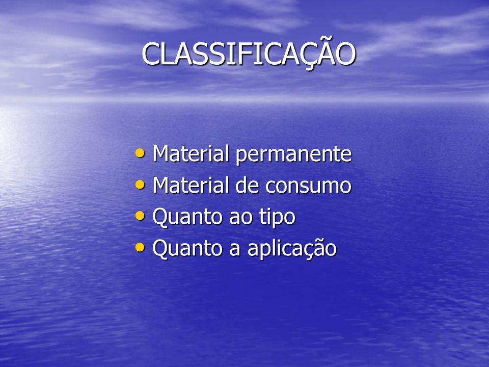 CLASSIFICAÇÃO Material permanente Material de consumo Quanto ao tipo