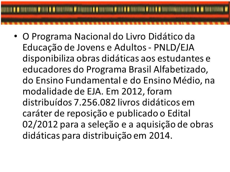 O Programa Nacional do Livro Didático da Educação de Jovens e Adultos - PNLD/EJA disponibiliza obras didáticas aos estudantes e educadores do Programa Brasil Alfabetizado, do Ensino Fundamental e do Ensino Médio, na modalidade de EJA.