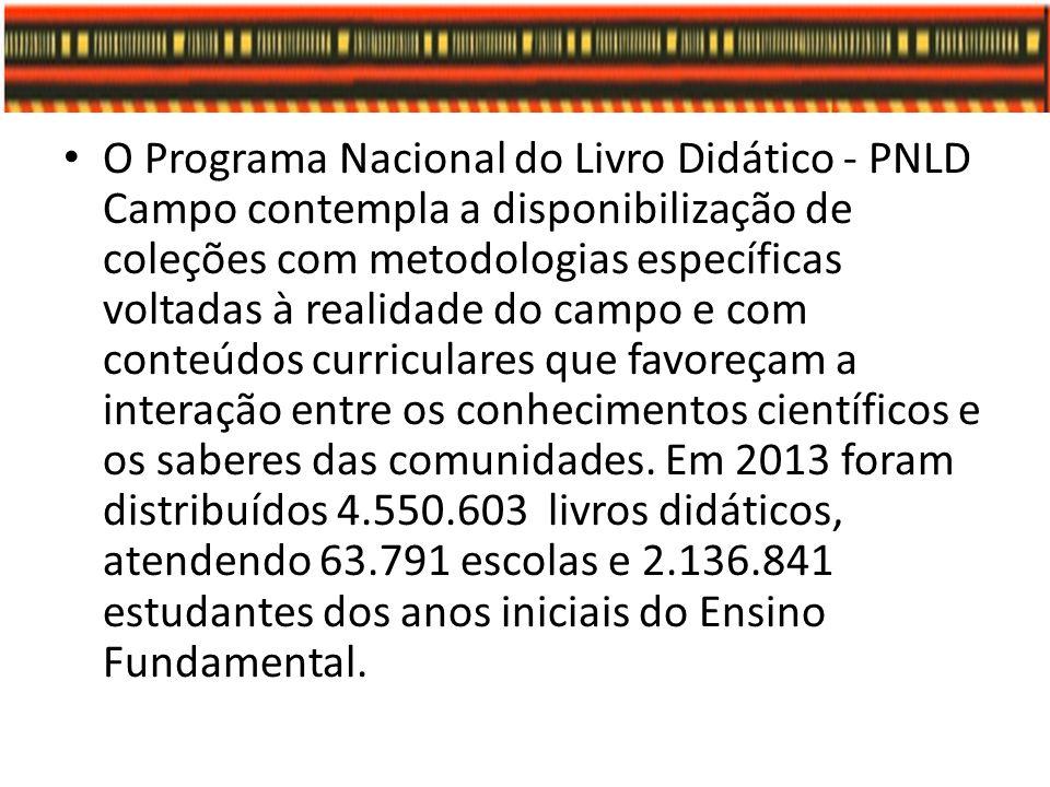 O Programa Nacional do Livro Didático - PNLD Campo contempla a disponibilização de coleções com metodologias específicas voltadas à realidade do campo e com conteúdos curriculares que favoreçam a interação entre os conhecimentos científicos e os saberes das comunidades.