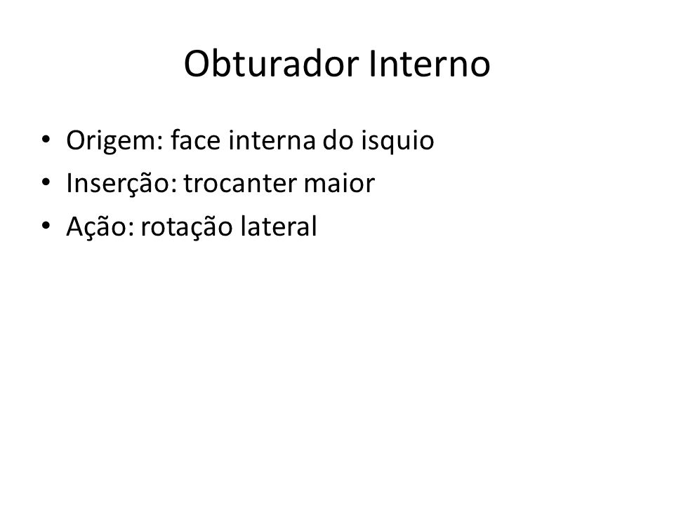 Obturador Interno Origem: face interna do isquio