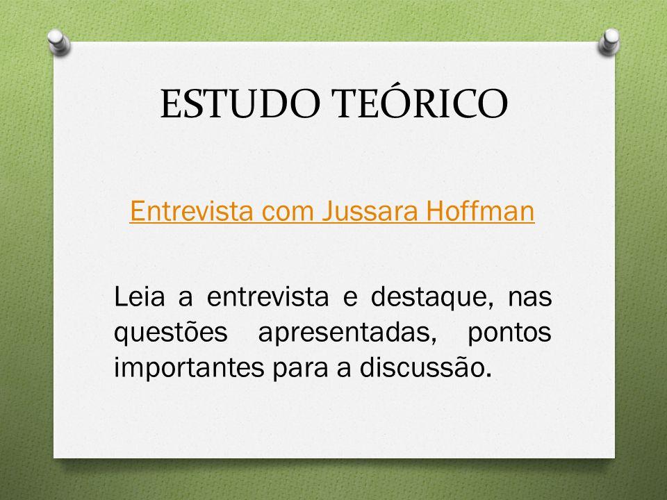 ESTUDO TEÓRICO Entrevista com Jussara Hoffman Leia a entrevista e destaque, nas questões apresentadas, pontos importantes para a discussão.