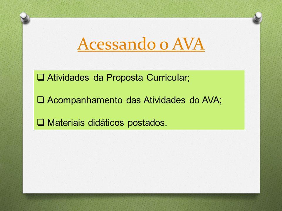 Acessando o AVA Atividades da Proposta Curricular;