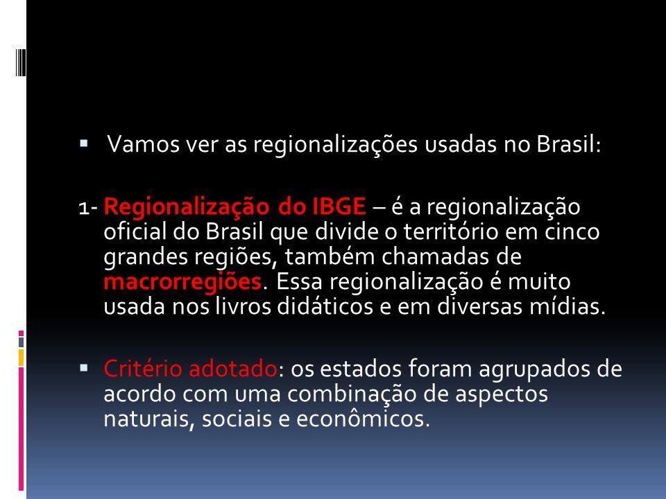 Vamos ver as regionalizações usadas no Brasil: