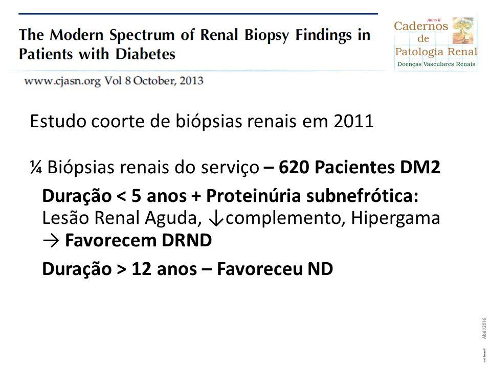 Estudo coorte de biópsias renais em 2011 ¼ Biópsias renais do serviço – 620 Pacientes DM2 Duração < 5 anos + Proteinúria subnefrótica: Lesão Renal Aguda, ↓complemento, Hipergama → Favorecem DRND Duração > 12 anos – Favoreceu ND