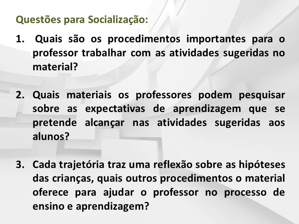 Questões para Socialização: