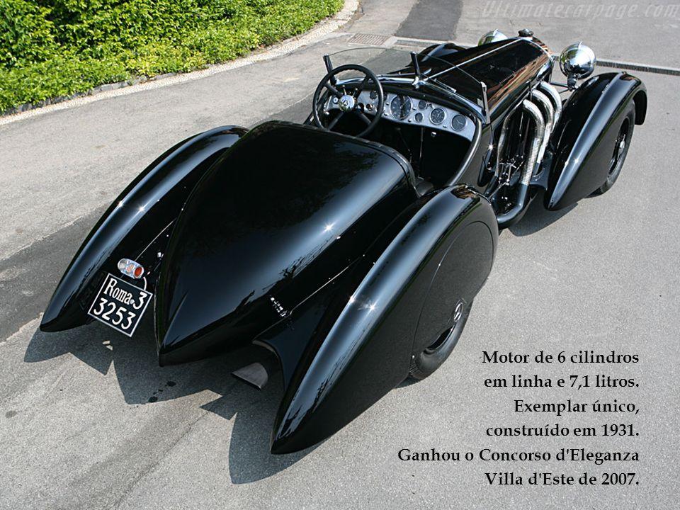 Motor de 6 cilindros em linha e 7,1 litros. Exemplar único, construído em 1931. Ganhou o Concorso d Eleganza.