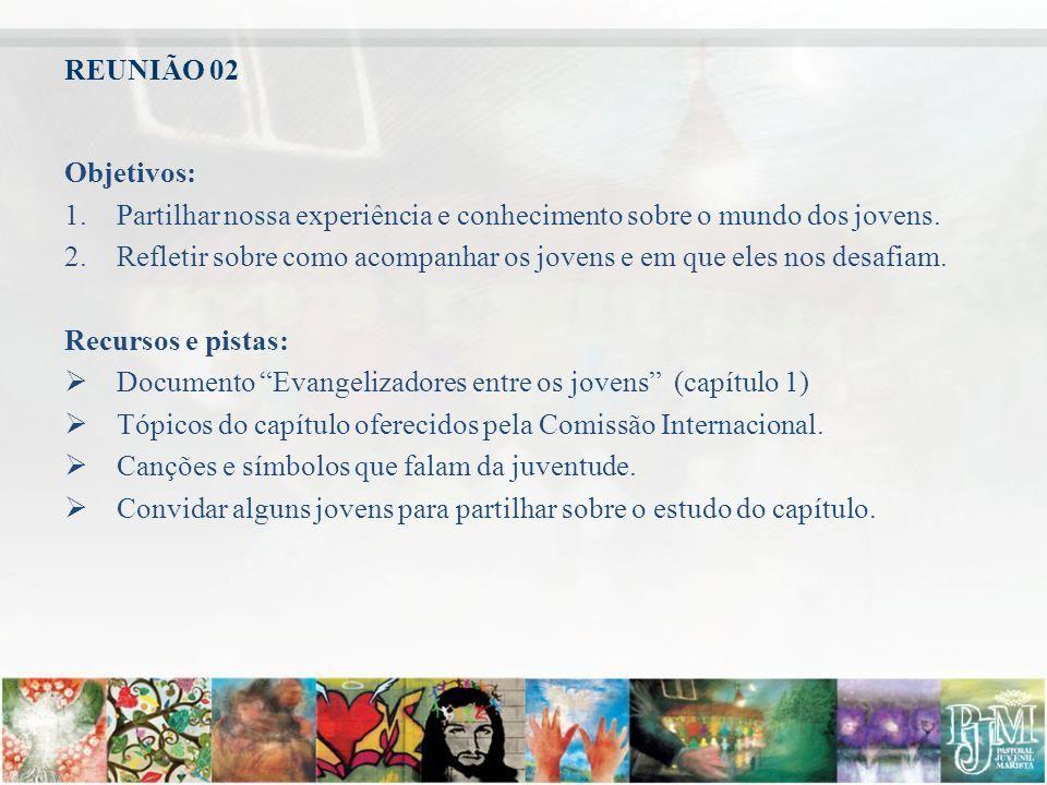 REUNIÃO 02 Objetivos: Partilhar nossa experiência e conhecimento sobre o mundo dos jovens.