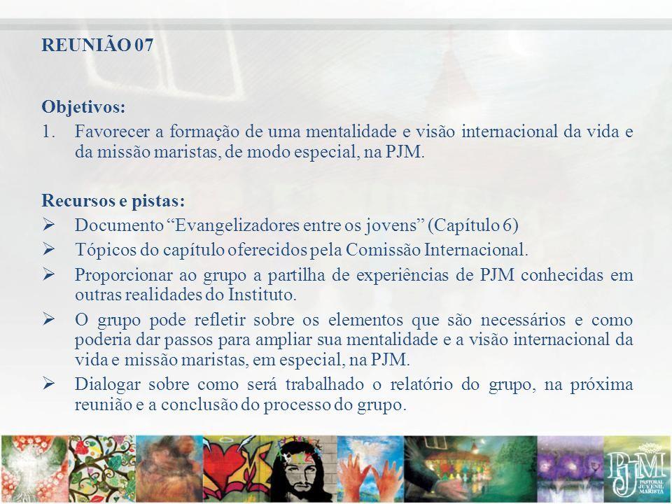 REUNIÃO 07 Objetivos: Favorecer a formação de uma mentalidade e visão internacional da vida e da missão maristas, de modo especial, na PJM.