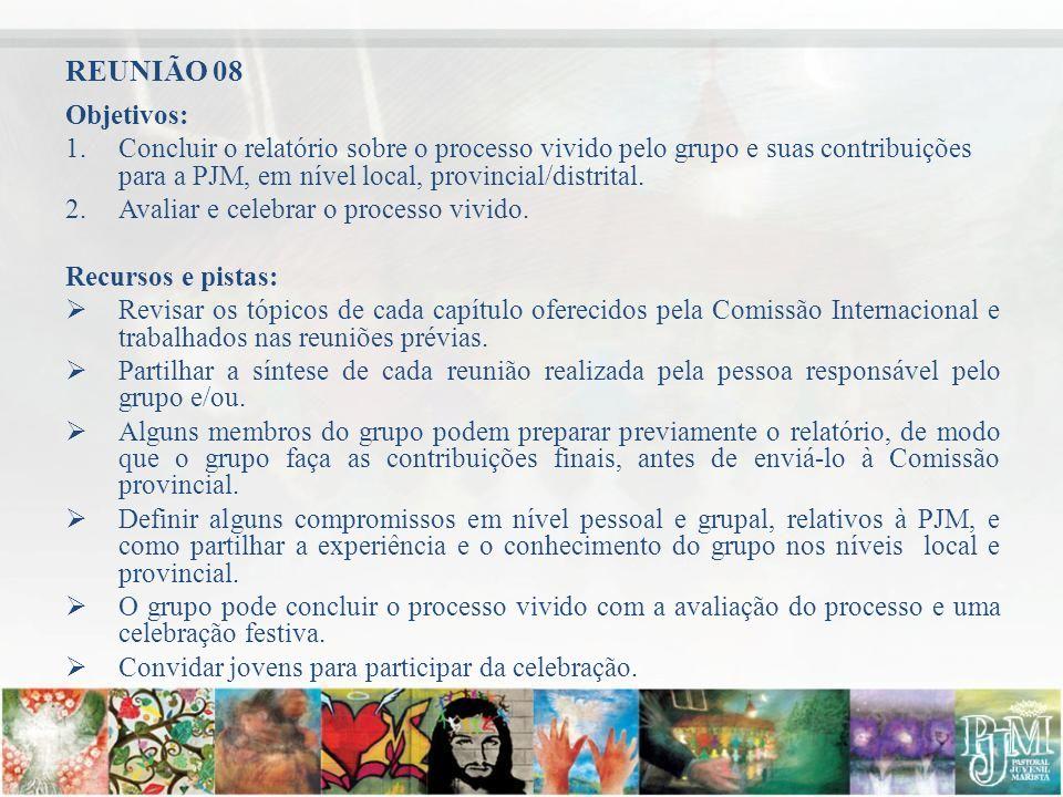 REUNIÃO 08 Objetivos: Concluir o relatório sobre o processo vivido pelo grupo e suas contribuições para a PJM, em nível local, provincial/distrital.