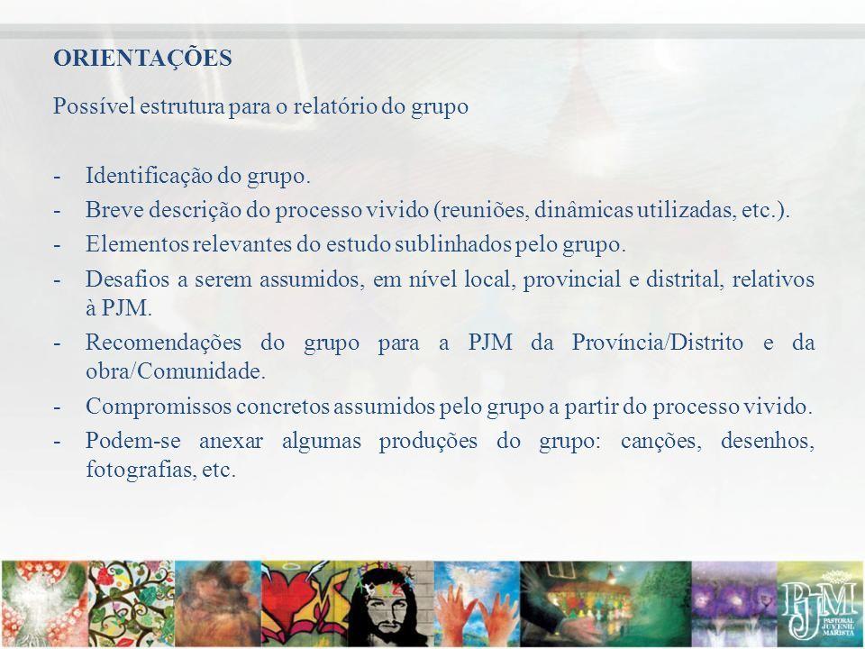 ORIENTAÇÕES Possível estrutura para o relatório do grupo. Identificação do grupo.