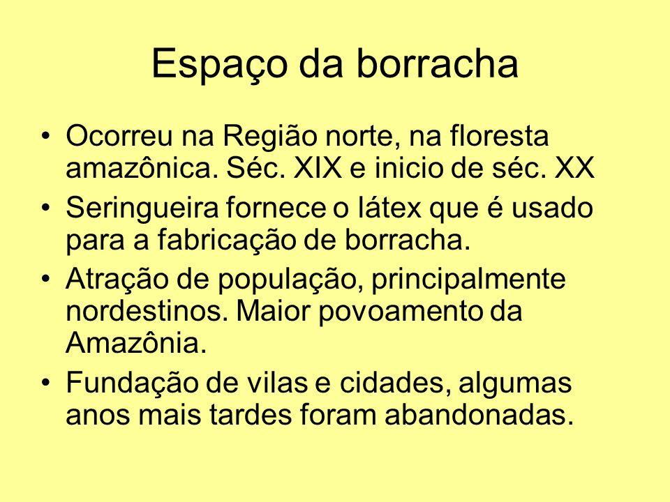 Espaço da borracha Ocorreu na Região norte, na floresta amazônica. Séc. XIX e inicio de séc. XX.
