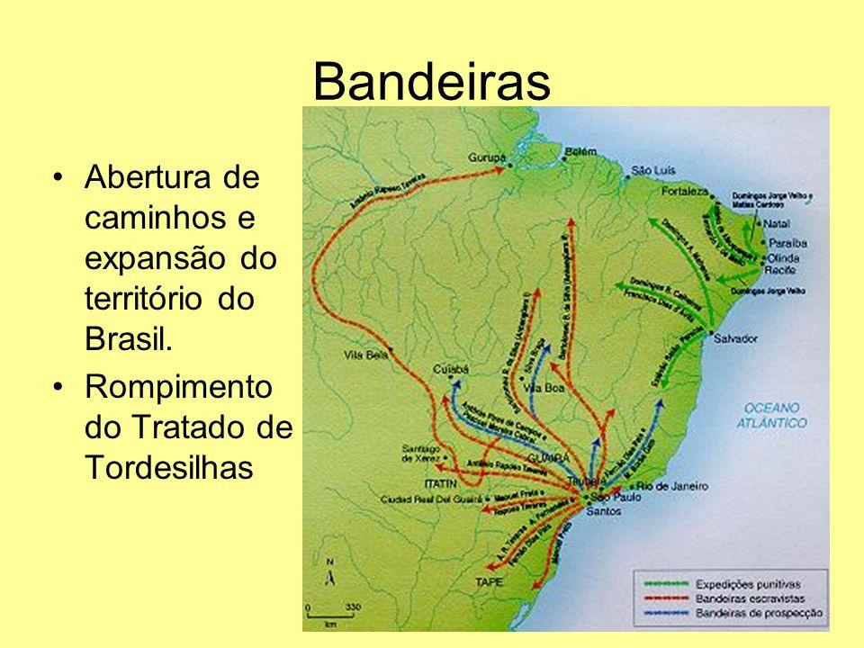Bandeiras Abertura de caminhos e expansão do território do Brasil.
