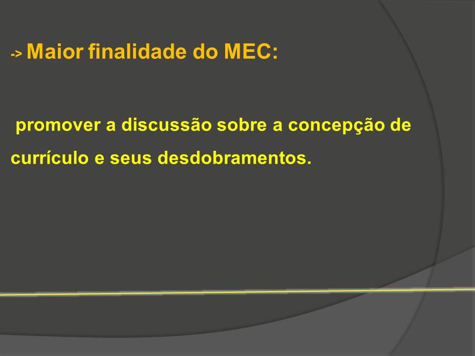 -> Maior finalidade do MEC: