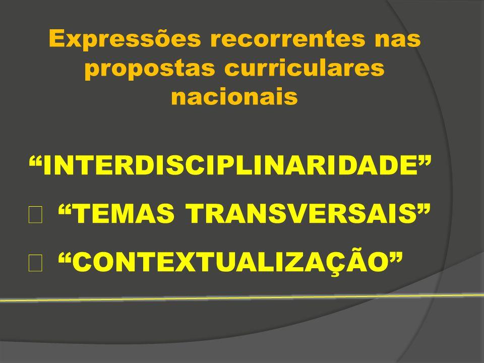 Expressões recorrentes nas propostas curriculares nacionais