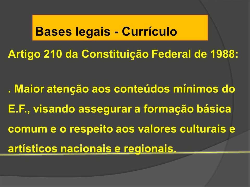Bases legais - Currículo