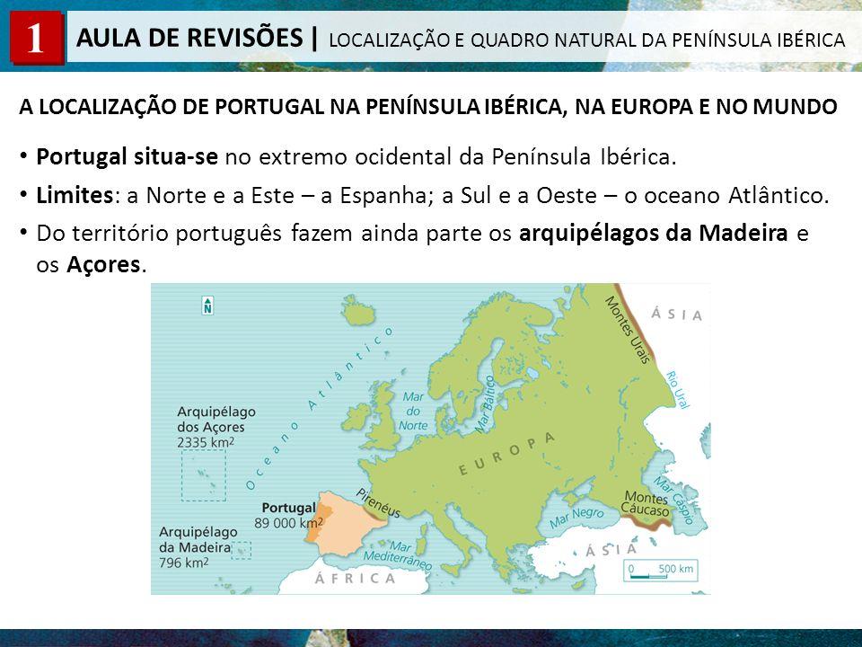 A LOCALIZAÇÃO DE PORTUGAL NA PENÍNSULA IBÉRICA, NA EUROPA E NO MUNDO