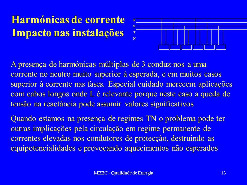 Harmónicas de corrente Impacto nas instalações