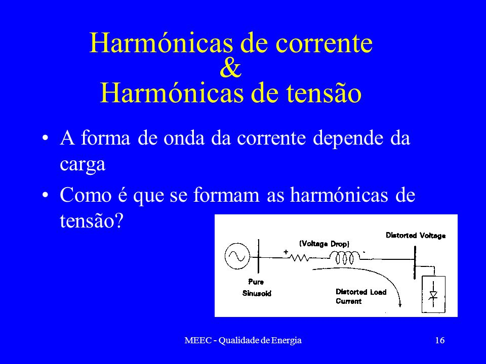 Harmónicas de corrente & Harmónicas de tensão