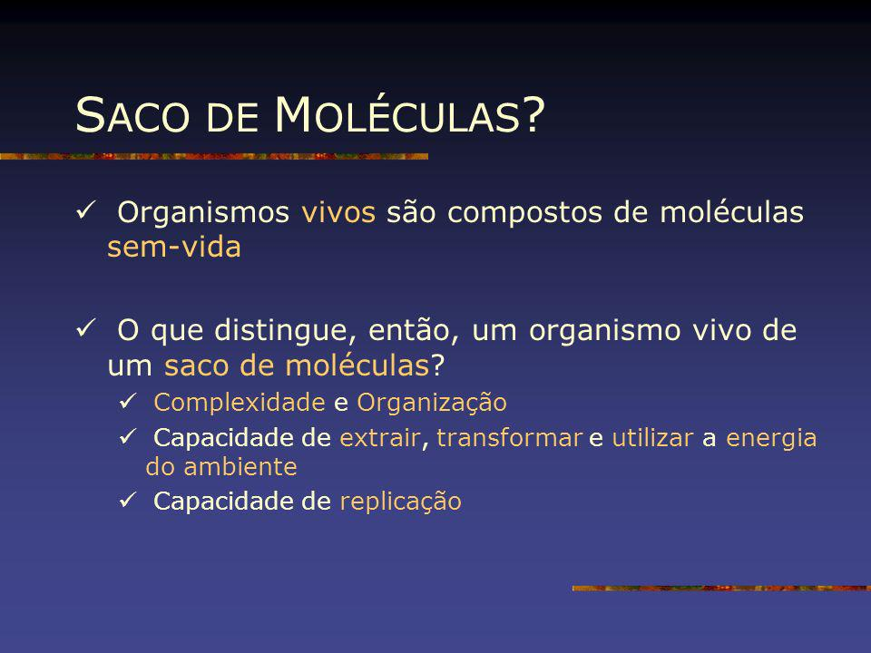 SACO DE MOLÉCULAS Organismos vivos são compostos de moléculas sem-vida. O que distingue, então, um organismo vivo de um saco de moléculas