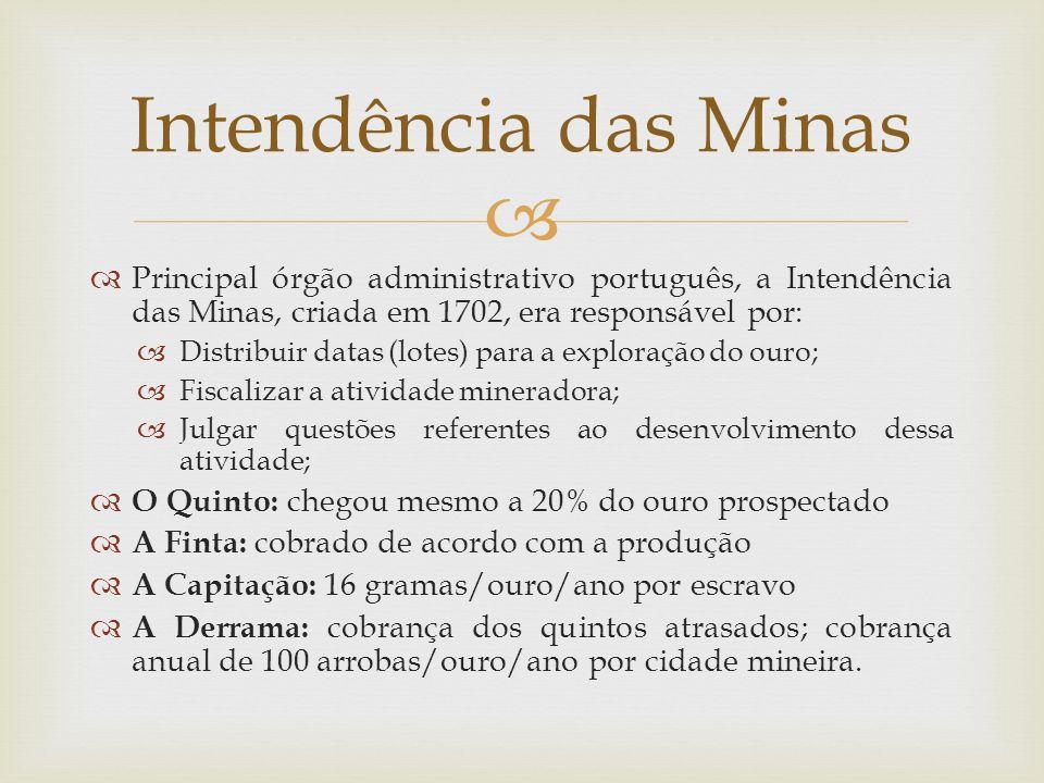 Intendência das Minas Principal órgão administrativo português, a Intendência das Minas, criada em 1702, era responsável por: