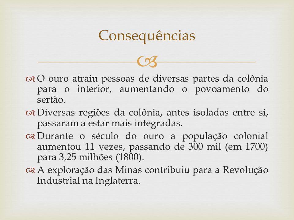 Consequências O ouro atraiu pessoas de diversas partes da colônia para o interior, aumentando o povoamento do sertão.