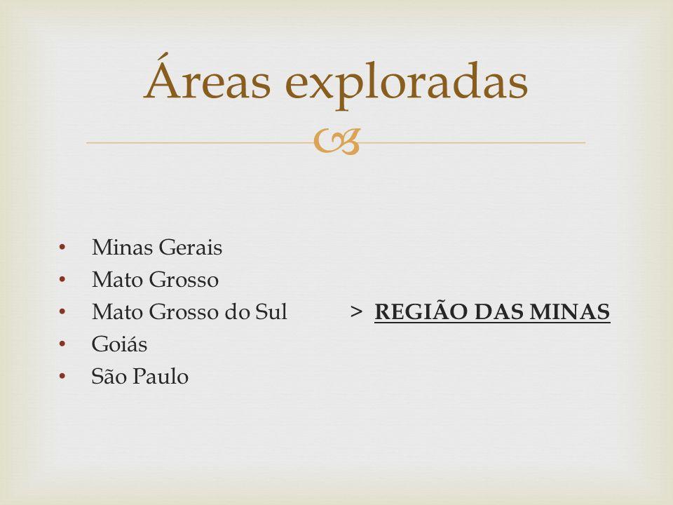 Áreas exploradas Minas Gerais Mato Grosso