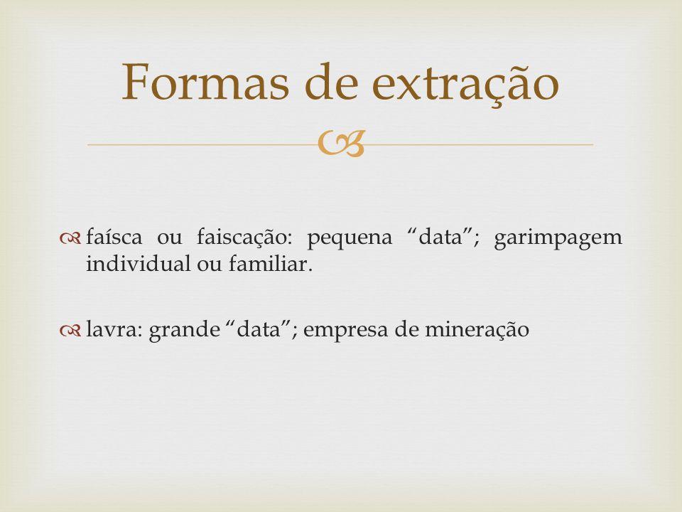 Formas de extração faísca ou faiscação: pequena data ; garimpagem individual ou familiar.