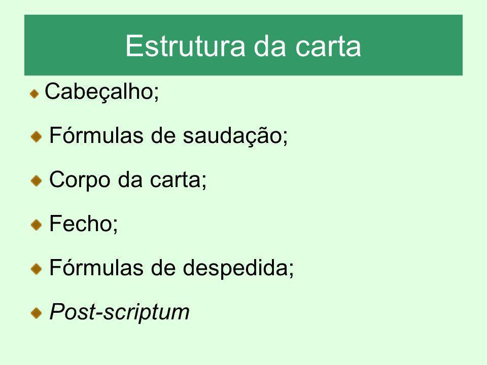 Estrutura da carta Fórmulas de saudação; Corpo da carta; Fecho;