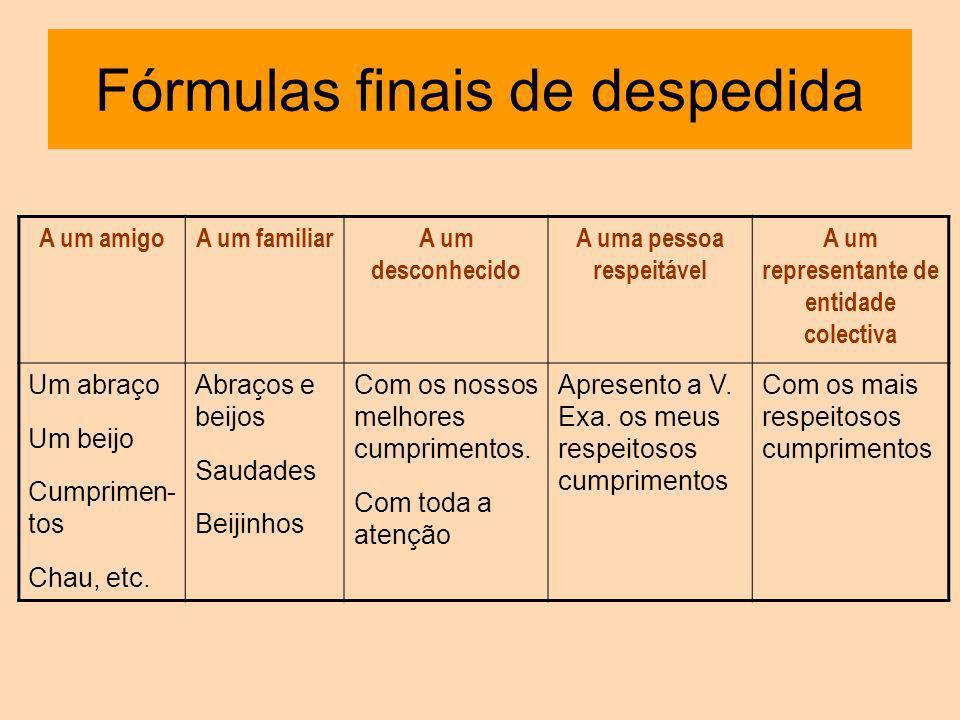 Fórmulas finais de despedida