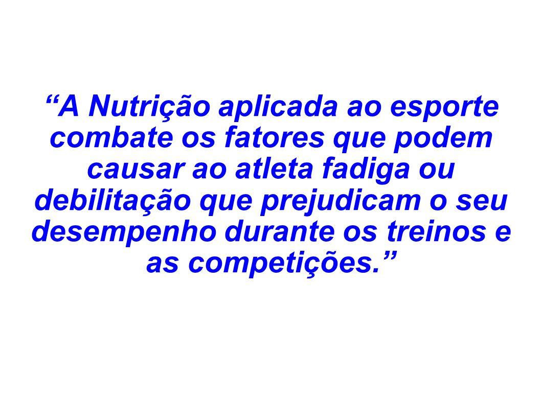 A Nutrição aplicada ao esporte combate os fatores que podem causar ao atleta fadiga ou debilitação que prejudicam o seu desempenho durante os treinos e as competições.