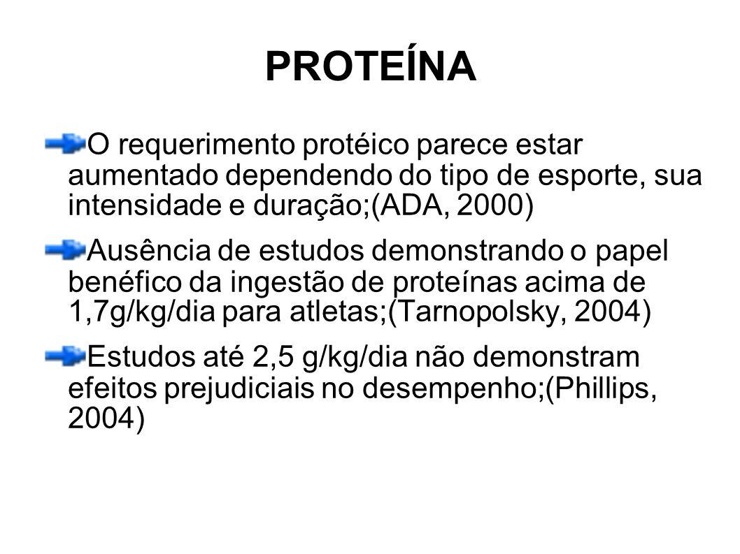 PROTEÍNA O requerimento protéico parece estar aumentado dependendo do tipo de esporte, sua intensidade e duração;(ADA, 2000)