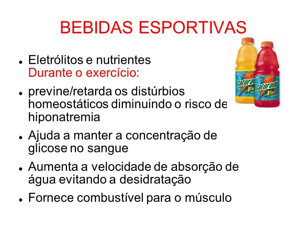 BEBIDAS ESPORTIVAS Eletrólitos e nutrientes Durante o exercício: