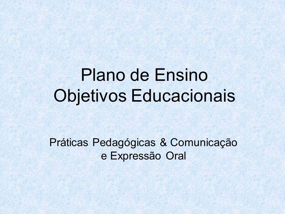 Plano de Ensino Objetivos Educacionais