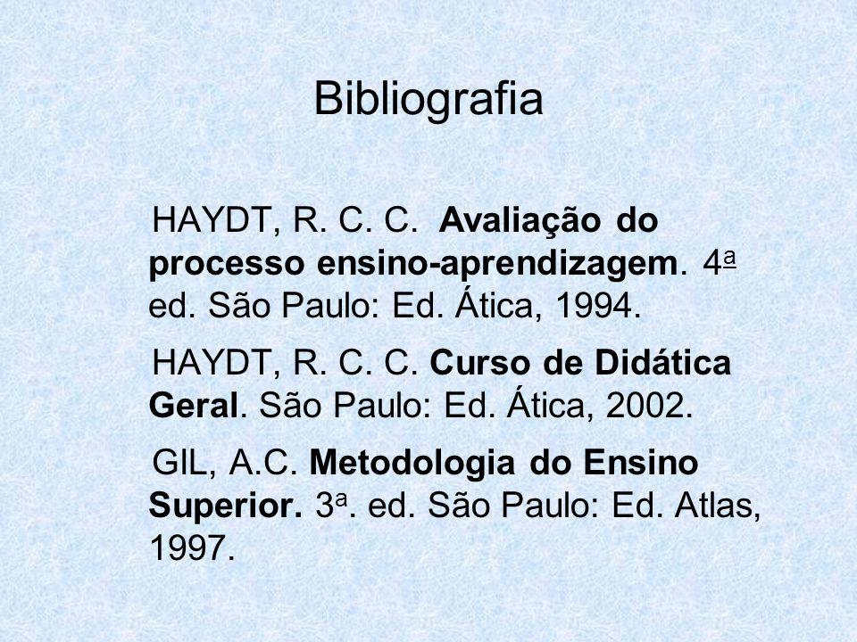 Bibliografia HAYDT, R. C. C. Avaliação do processo ensino-aprendizagem. 4a ed. São Paulo: Ed. Ática, 1994.
