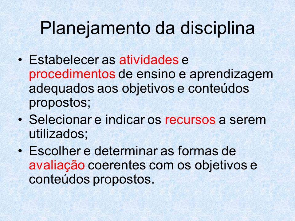Planejamento da disciplina