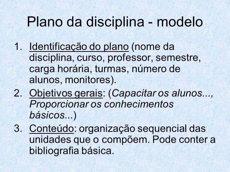 Plano da disciplina - modelo